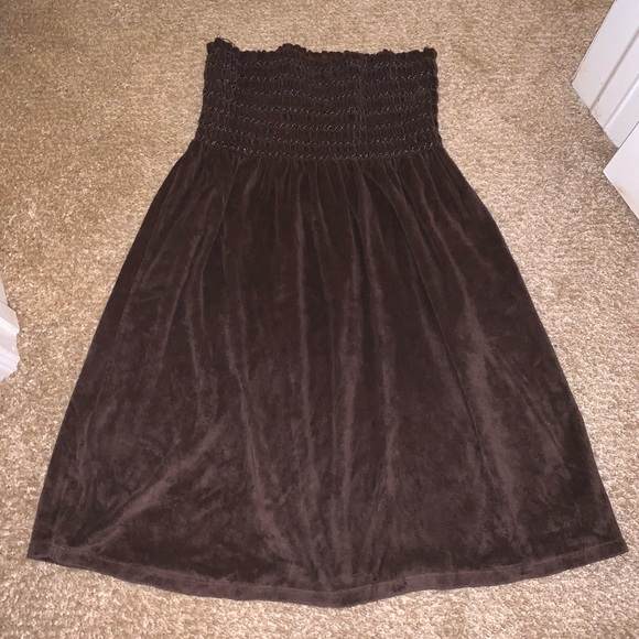 Brown strapless swim cover up